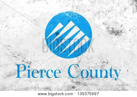 Flag Of Pierce County, Washington, Usa, With A Vintage And Old L