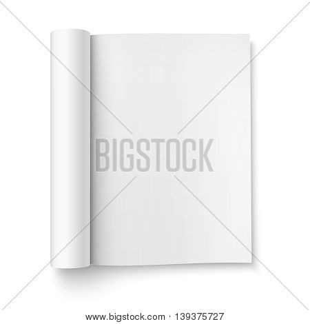 Blank open magazine template with rolled pages on white background . Portrait orientation. Ready for your design. Vector illustration.