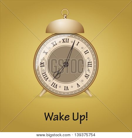 Old alarm clock isolated on white background. Vector illustration.
