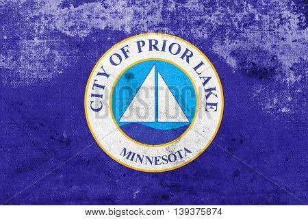 Flag Of Prior Lake, Minnesota, Usa, With A Vintage And Old Look