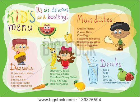 Colorful kid's menu for children party with template element