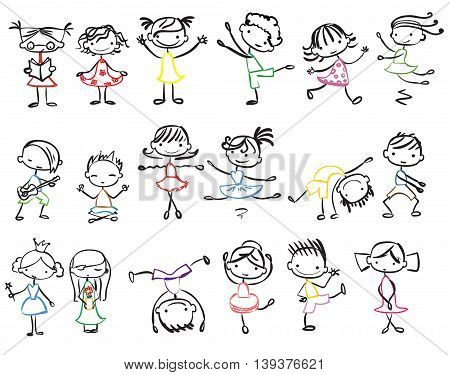 Big set of doodle family and kid's friend