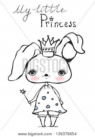 Cute my little princess rabbit girl. Trendy background