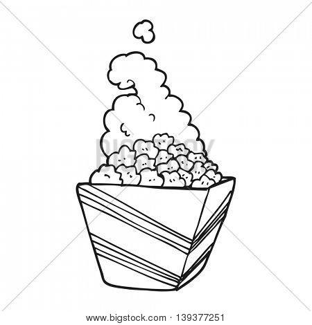 freehand drawn black and white cartoon fresh popcorn
