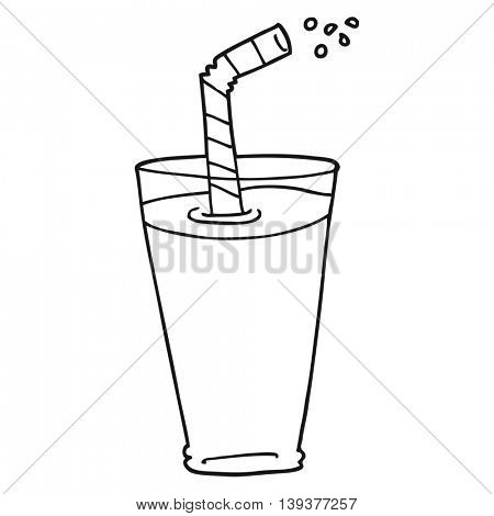 freehand drawn black and white cartoon fizzy drink in glass