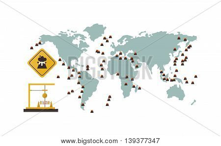 Volcano map nature vector isolated. Crater mountain volcano hot natural eruption nature. Volcano erupt ash fire hill landscape outdoor geology exploding ash. Earthquake map