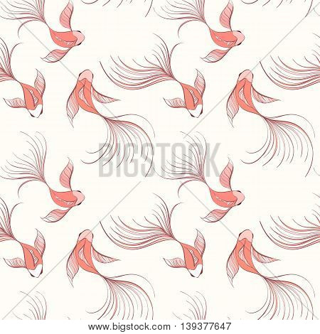 Koi seamless pattern can be used for wallpaper, website background, textile printing. Vector illustration of Chinese fish. Marine and nautical backgrounds. Sea theme. Summer collection.