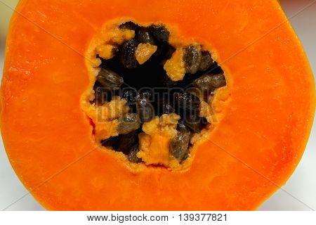 Close up Papaya fruit nature texture background.