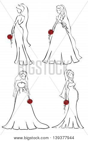 Set of beautiful brides with red flowers