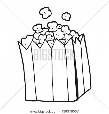 freehand drawn black and white cartoon popcorn