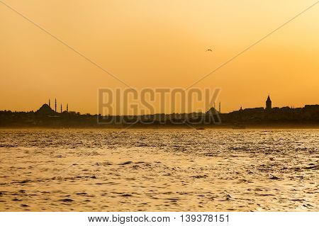 Old city view from the sea. Istanbul. Travel Turkey. View from the Bosporus. In orange tones.