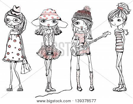 Four Cute stylish girls teenagers in fashionable clothes
