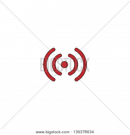 Wireless Network zone. Signal. Red flat simple modern illustration icon with stroke. Collection concept vector pictogram for infographic project and logo
