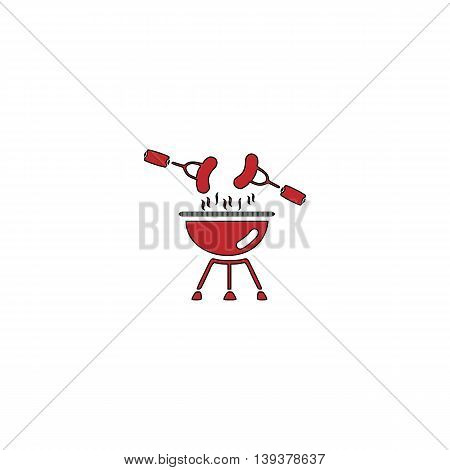 Grill Or Barbecue. Red flat simple modern illustration icon with stroke. Collection concept vector pictogram for infographic project and logo