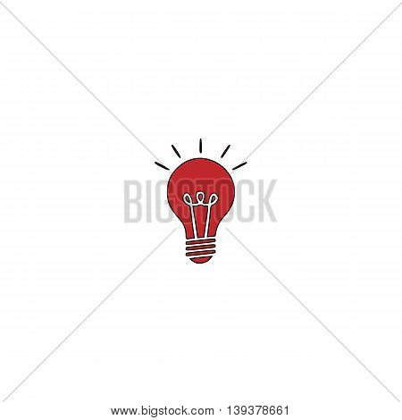 Lamp. Red flat simple modern illustration icon with stroke. Collection concept vector pictogram for infographic project and logo