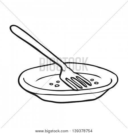 freehand drawn black and white cartoon empty plate