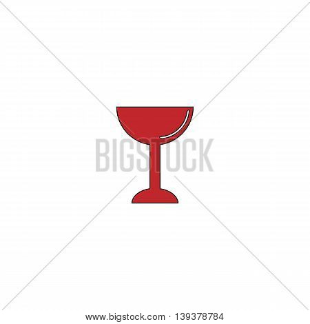 Drink - wineglass. Red flat simple modern illustration icon with stroke. Collection concept vector pictogram for infographic project and logo