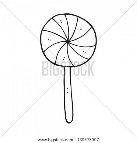 freehand drawn black and white cartoon candy lollipop