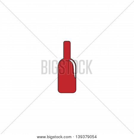 Bottle of alcohol. Red flat simple modern illustration icon with stroke. Collection concept vector pictogram for infographic project and logo