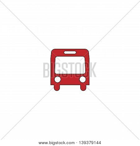 Simple Bus. Red flat simple modern illustration icon with stroke. Collection concept vector pictogram for infographic project and logo