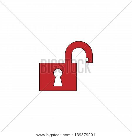 Open padlock. Red flat simple modern illustration icon with stroke. Collection concept vector pictogram for infographic project and logo