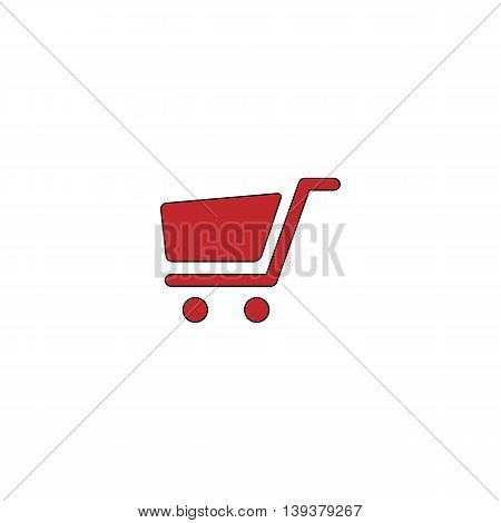 Simple shopping cart. Red flat simple modern illustration icon with stroke. Collection concept vector pictogram for infographic project and logo
