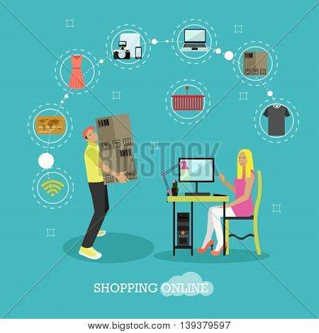 Online shopping concept vector illustration flat style design. Girl shopping online on internet staying at home. Delivery and shipping.