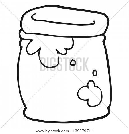 freehand drawn black and white cartoon jar of jam