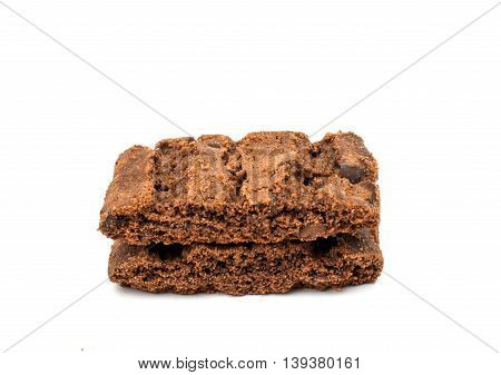 chocolate chips cocoa cookies isolated on white background