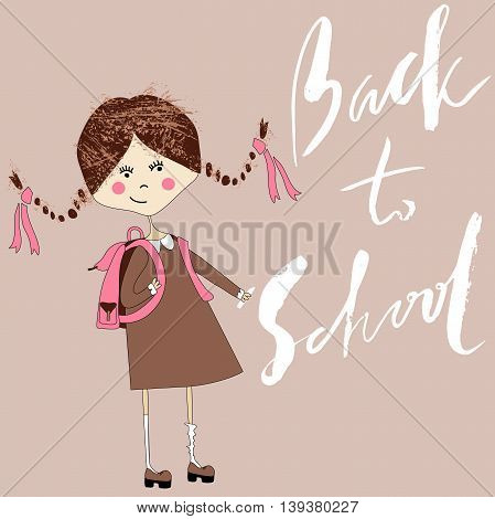 Girl with the school bag writes with chalk on a chalkboard. Handdrawn inspiration. Back to school. Lettering