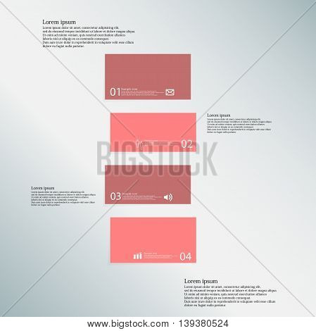 Bar Illustration Template Consists Of Four Red Parts On Blue Background