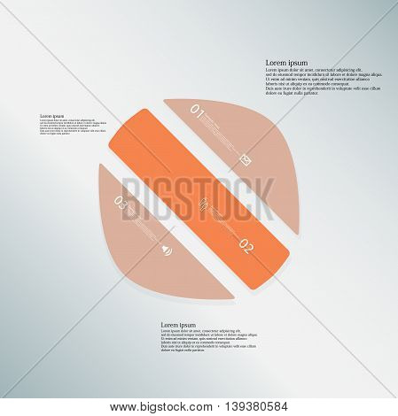 Illustration infographic template with shape of deformed circle. Object askew divided to three parts with orange color. Each part contains Lorem Ipsum text number and sign. Background is light blue.