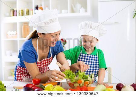 Smiling Family Preparing Healthy Food