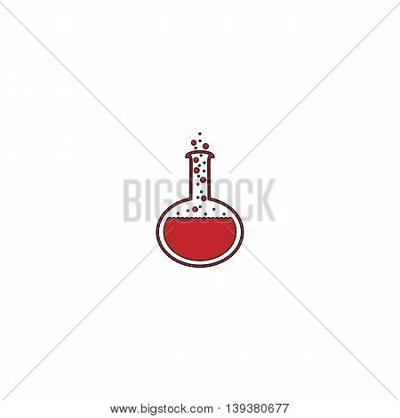 Chemistry bulb. Red flat simple modern illustration icon with stroke. Collection concept vector pictogram for infographic project and logo