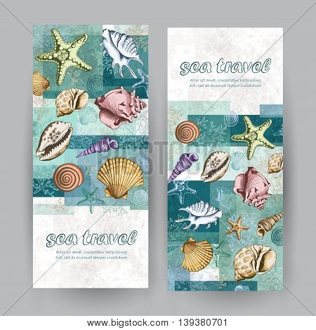 Set of two vertical banners with seashells corals and starfishes. Travel Template. Vector colorful layered illustration in sketch style. Place for your text. Marine background.