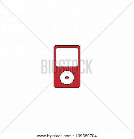 Portable media player. Red flat simple modern illustration icon with stroke. Collection concept vector pictogram for infographic project and logo
