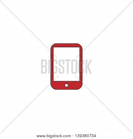 Modern digital tablet PC. Red flat simple modern illustration icon with stroke. Collection concept vector pictogram for infographic project and logo