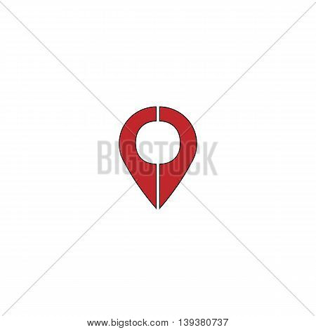 Mark pointer. Red flat simple modern illustration icon with stroke. Collection concept vector pictogram for infographic project and logo
