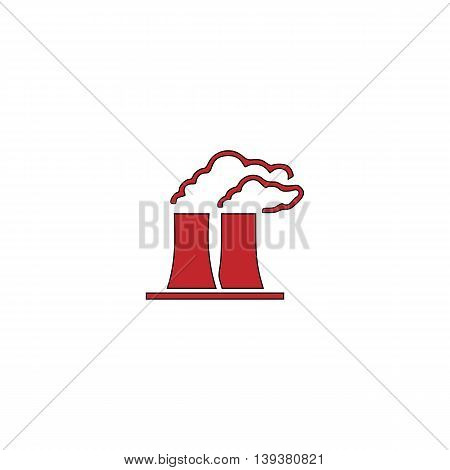 Factory or plant. Red flat simple modern illustration icon with stroke. Collection concept vector pictogram for infographic project and logo