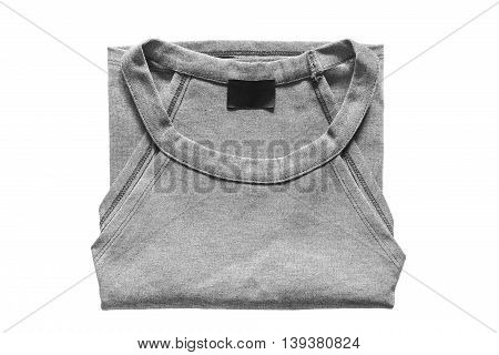 Folded gray top isolated over white background