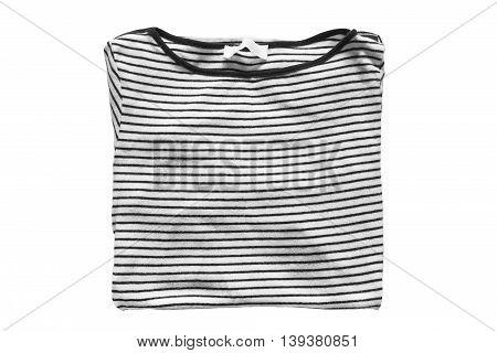 Folded striped shirt isolated on white background