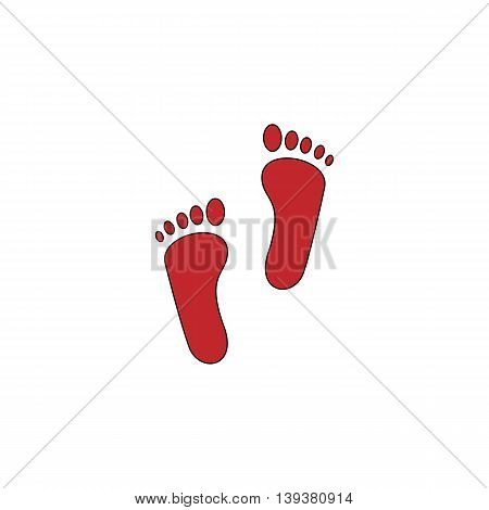 Footprint. Red flat simple modern illustration icon with stroke. Collection concept vector pictogram for infographic project and logo
