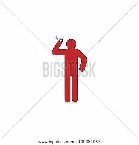 Man with a cigarette. Red flat simple modern illustration icon with stroke. Collection concept vector pictogram for infographic project and logo