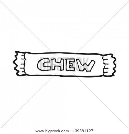 freehand drawn black and white cartoon chew