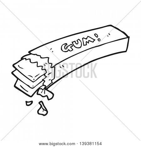 freehand drawn black and white cartoon chewing gum
