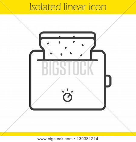 Toaster linear icon. Thin line illustration. Toasted bread contour symbol. Vector isolated outline drawing