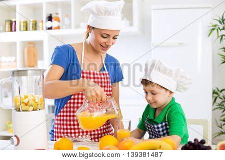 Family Prepare Fresh Orange Juice