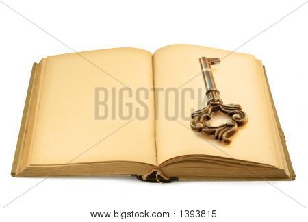 Open Old Book With Key Motif #2