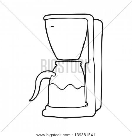 freehand drawn black and white cartoon coffee maker