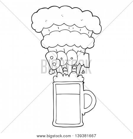 freehand drawn black and white cartoon exploding beer